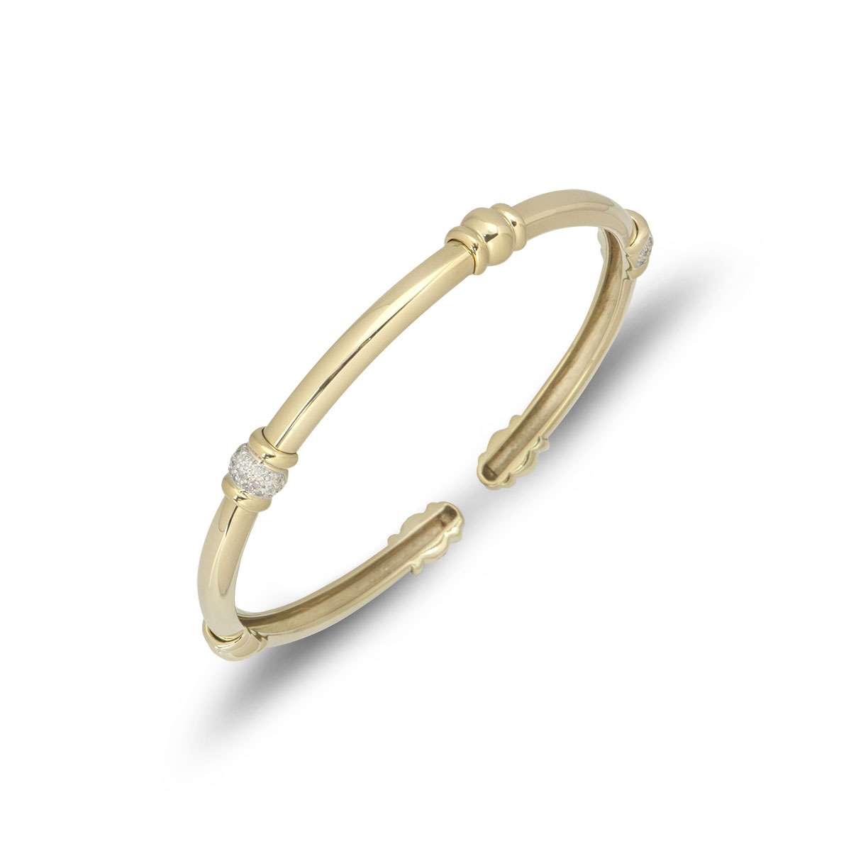 Yellow Gold Diamond Torque Bangle